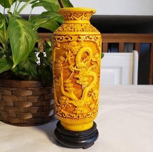 Antique Asian Yellow Cinnabar Vase